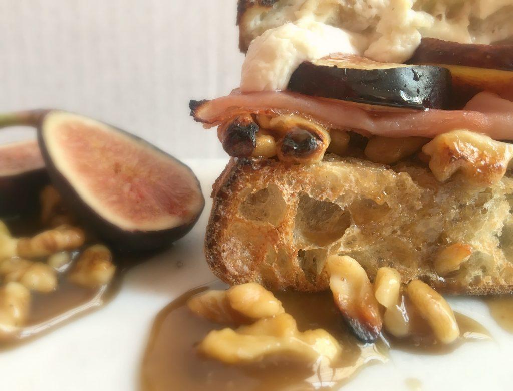 Ham, Fig, Goat Cheese Sandwich with a Honey Walnut Spread