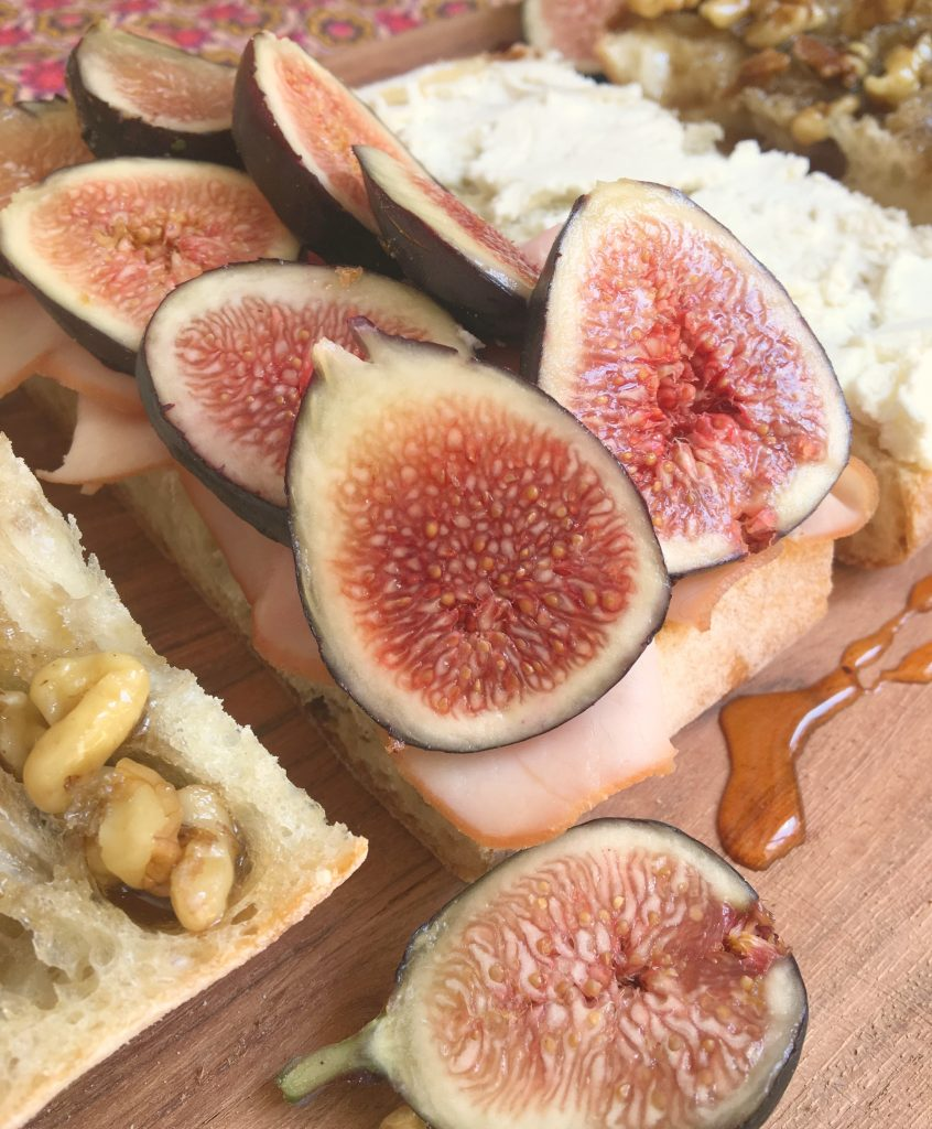 Ham, Fig, Goat Cheese Sandwich with Honey Walnut Spread