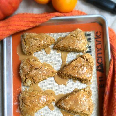 Pumpkin Scones with Maple Orange Glaze